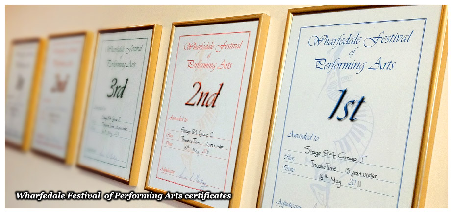Wharfedale Festival of Performing Arts certificates awarded to Stage 84