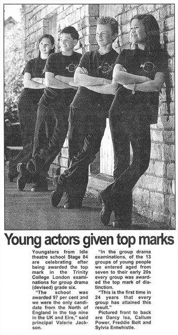 Young Stage 84 actors given top exam marks
