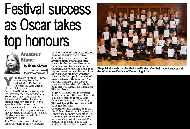 Stage 84 festival success as Oscar takes top honours